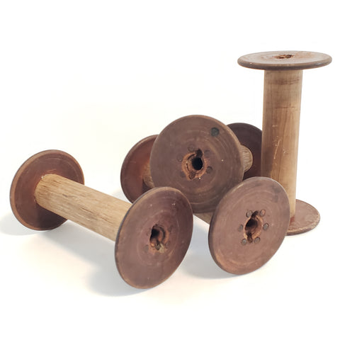 Antique Wooden Textile Spools - Collection of 4 - Crafting or Repurpose Projects