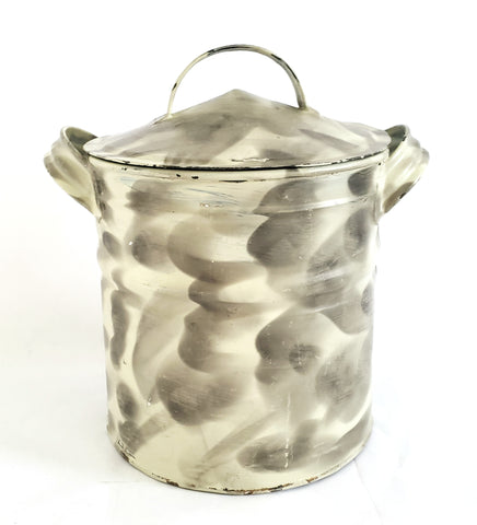 Smoke Decorated Gray and White Tin Lard Canister With Pointed Tapered Lid