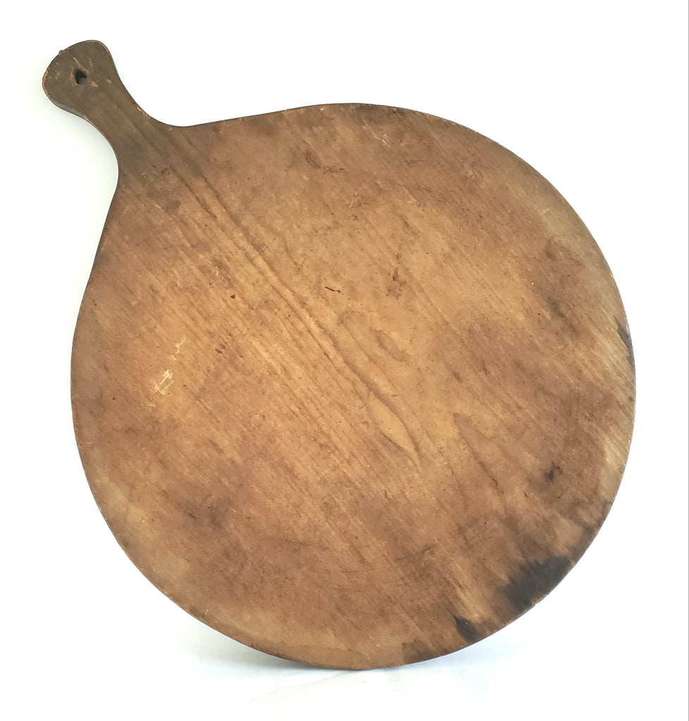 Large Round Antique Wooden Bread Board