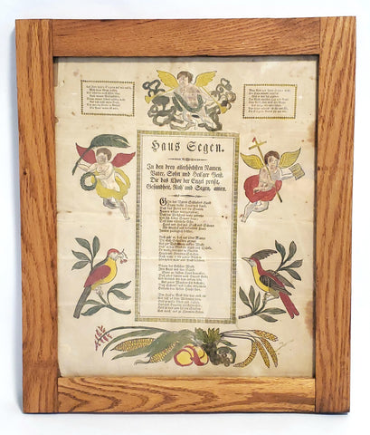 Antique Framed Pennsylvania German Fraktur, HAUS SEGEN - House of Blessing c. 1800's