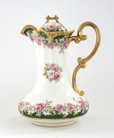 Antique Imperial Crown Austria Chocolate Pot, Vienna Austria, Pink Roses w/ Green Edges