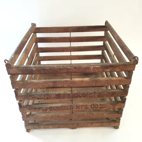Antique Humpty Dumpty Farmhouse Wooden Egg Crate - No Lid c. 1894