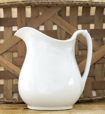Antique White Ironstone Pitcher, Crescent Pottery Trenton New Jersey c. 1899-1902
