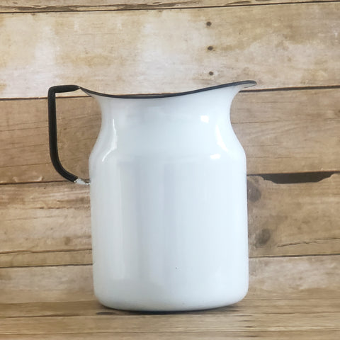 Large 9 inch Farmhouse White Enamelware Pitcher