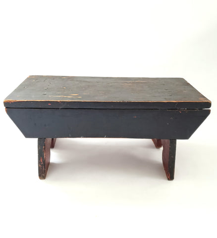 Wooden Carved Foot Stool with Old Red and Black Paint and Carved Legs
