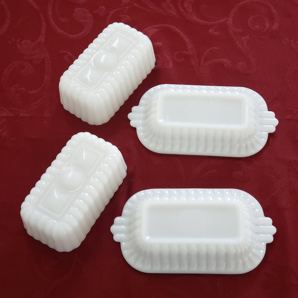 Small Half Stick Milk White Glass Covered Butter Dishes Set of 2 - Mid Century