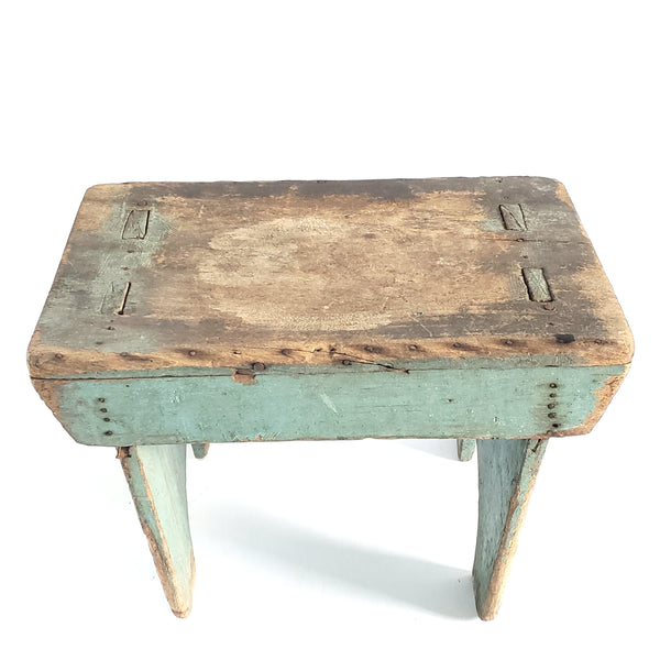 Antique Rustic Wooden Footstool w/ Mortise and Tenon Construction Original Blue Paint