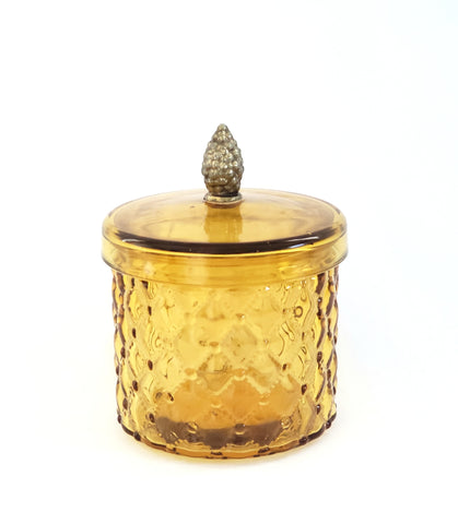 Vintage Amber Quilted Diamond Glass Covered Jar