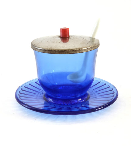 Cobalt Blue Glass Mustard Cup w/ Attached Underplate Metal Lid - Petalware by Macbeth-Evans c. 1930's