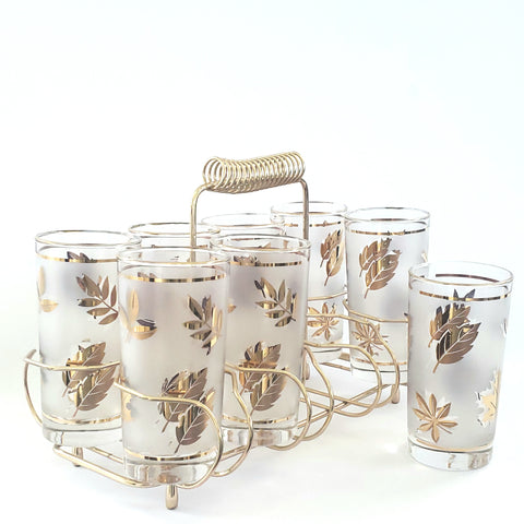 Mid Century Frosted w/ Gold Leaves Glass Tumbler Set of 8 w/ Metal Carrier by Libbey