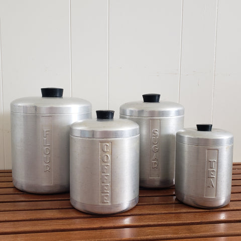 Mid-Century Retro Brushed Aluminum Kitchen Canisters - Set of 4  c. 1950's- 1960's