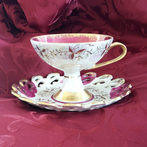 Hand-Painted China Tea Cup and Saucer Set #1424 Magenta and Gold - by Lefton c. Mid Century
