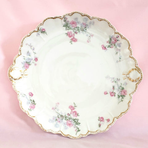 Antique Scalloped Cake Serving Plate, Pink Roses & Blue and White Flowers by Haviland, Limoges