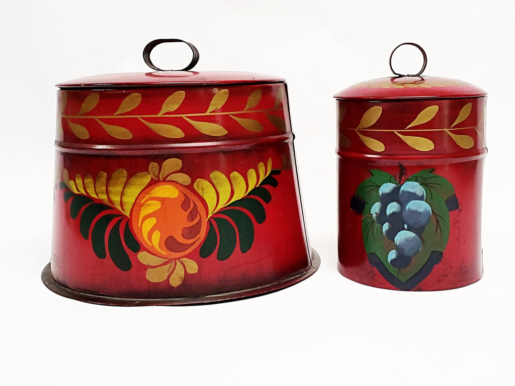 Hand Painted Red Toleware Canisters w/ Fruit Motif, Signed L. Furman, Amy Lord - Set of 2
