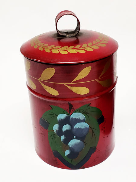 Signed Hand Painted Red Toleware Canisters w/ Fruit Motif, L. Furman, Amy Lord - Set of 2
