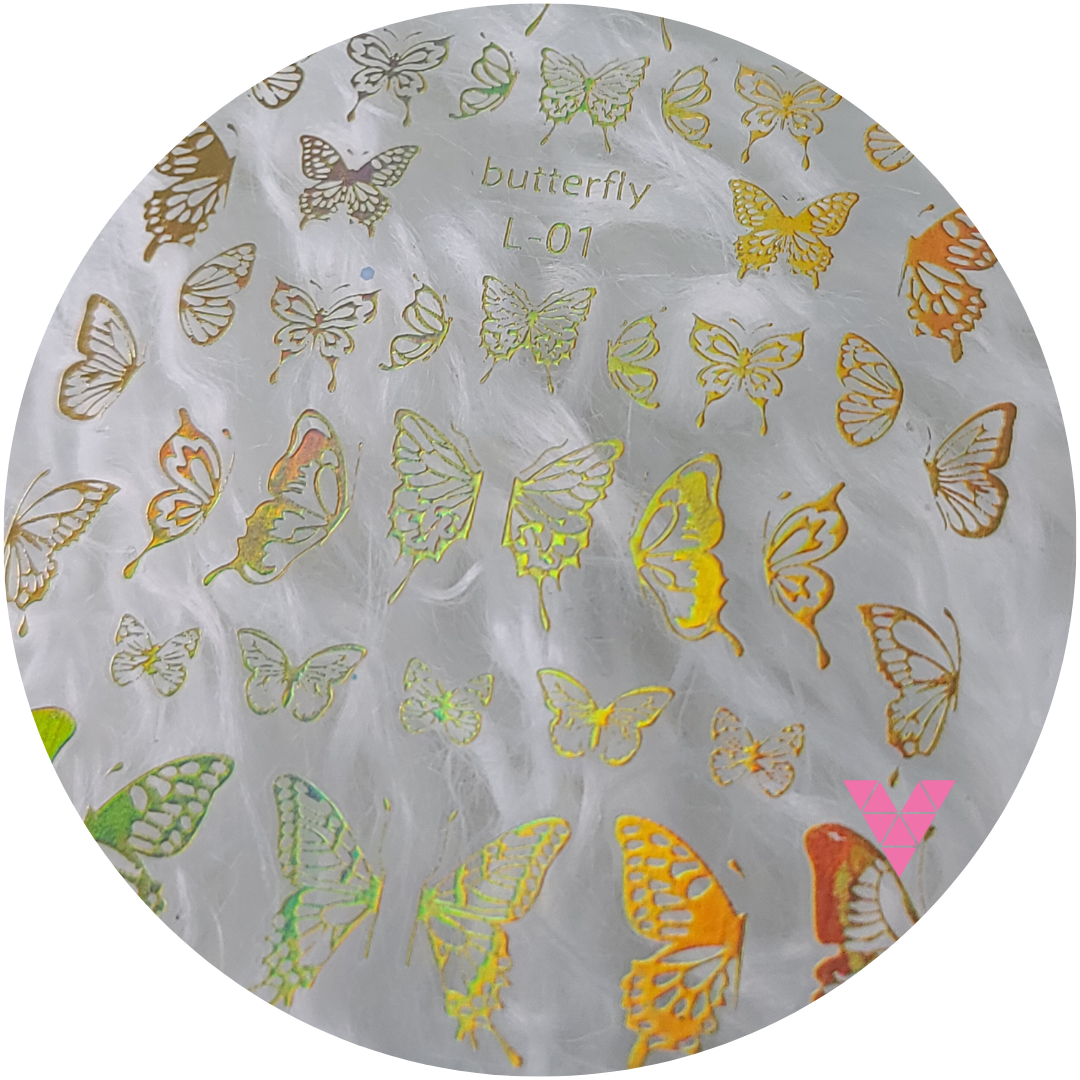 Holo Gold Butterfly Sticker 1