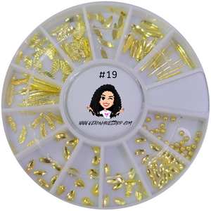 #19 Gold Nailart Wheel