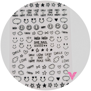 032 Smile Black Sticker