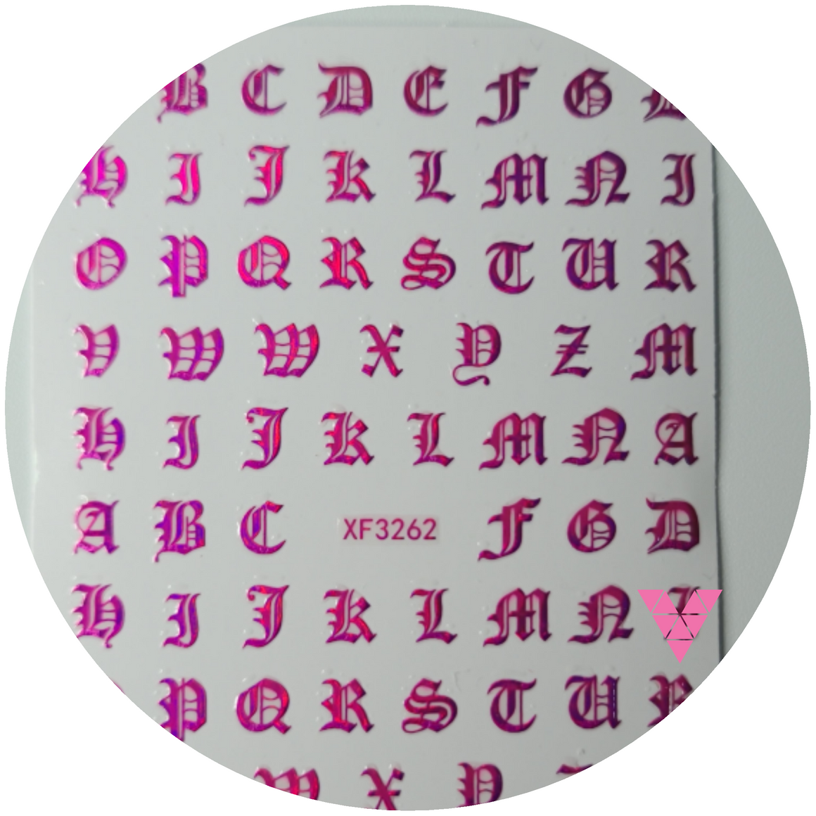 Fuchsia English Letters  Sticker