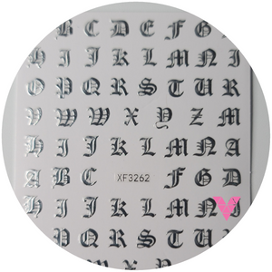 Silver Old English Letters  Sticker