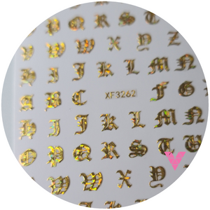Gold AB Old English Letters  Sticker