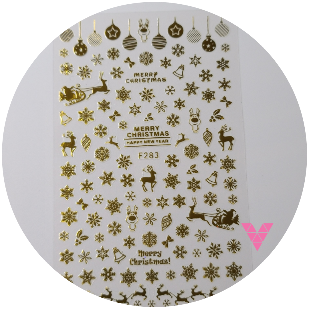 283 Gold Xmas Sticker