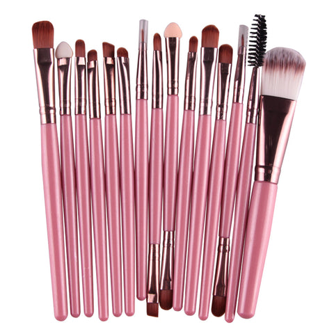 makeup brushes pink golden