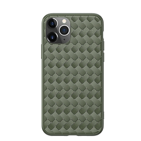 Leather Breathable Grid Weaving Protective Case For iPhone