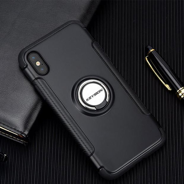 639-Luxury Shockproof Metal Ring Phone Case For iPhone