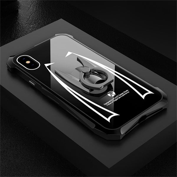 1104-Luxury Hard Metal Aluminum Acrylic Ring Holder Armor Case For iPhone