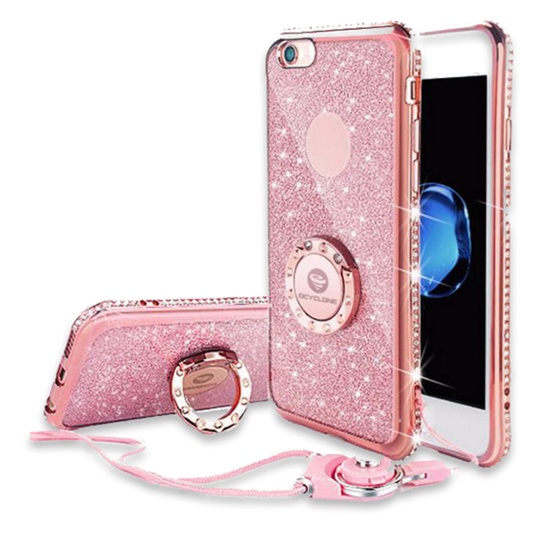 241-Bling Diamond Phone Case with strap For iPhone