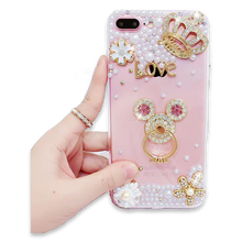 257-Luxury Pearls Diamond Soft Silicone Case for iPhone