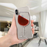 742-Red Wine Liquid Transparent  Case For iPhone X