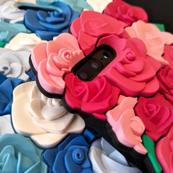 177-Luxury 3D Rose Romantic Soft Silicone Case For iPhone