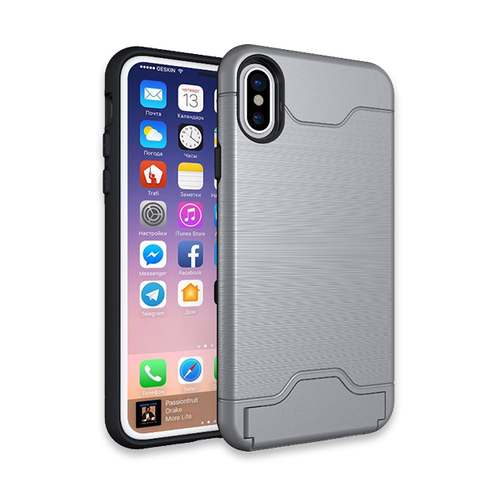 724-Anti Shock Texture Card Slot Case For iPhone X