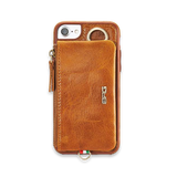 Luxury Genuine Leather Wallet Belt Case For iPhone-Brown