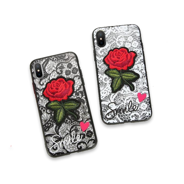 673-Rose Flower Lace Case For iPhone