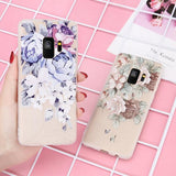 869-Transparent 3D Relief Rose Flower Cases For  S9/S9 +