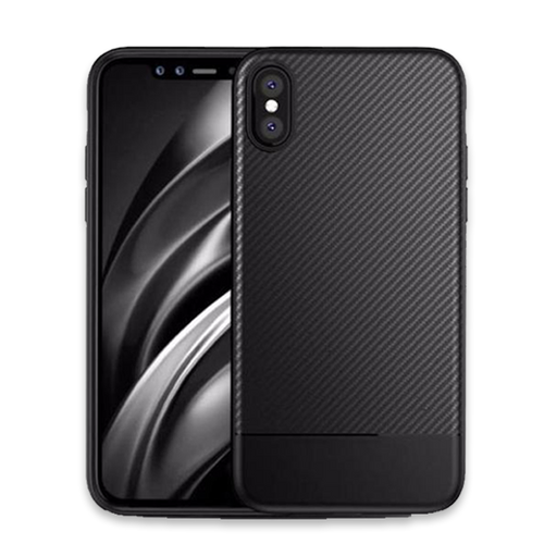 625-Luxury Business Carbon Fiber Cover Silicon Case For iPhone X