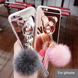 528-Luxury Fur Ball Tassels Mirror Phone Case For iPhone