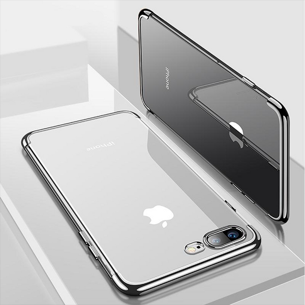 796-Plating Ultra Thin Transparent Soft Case For iPhone