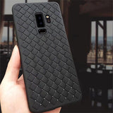 855-Luxury Woven Grid Soft Silicone Case For S9 /S9+