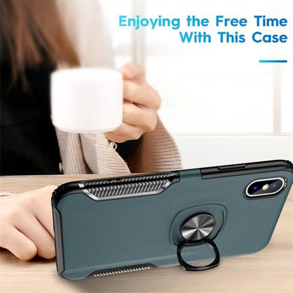 1130- Luxury Leather PC Ring Holder Case For iPhone