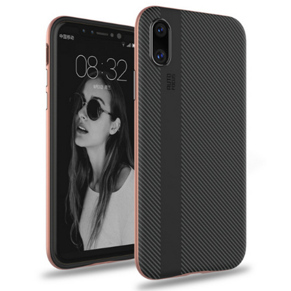 701-Stripe Carbon Fiber Soft Case For iPhone