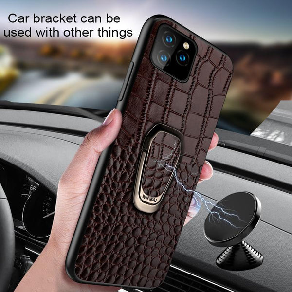 Luxury Genuine Leather Magnetic Kickstand Case for iPhone