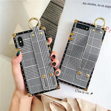 1052-Fashion Lattice Striped Wrist Strap Phone Case