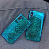 1045-Laser Blue Fish Scale Soft Retro For iPhone