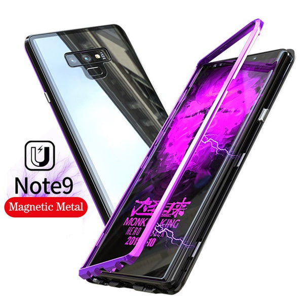 974-Magnetic Adsorption Metal Ultra Tempered Glass Case For Samsung Note 9