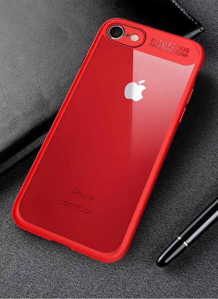 Ultra Slim Full Protective TPU Edge Case For iPhone-red
