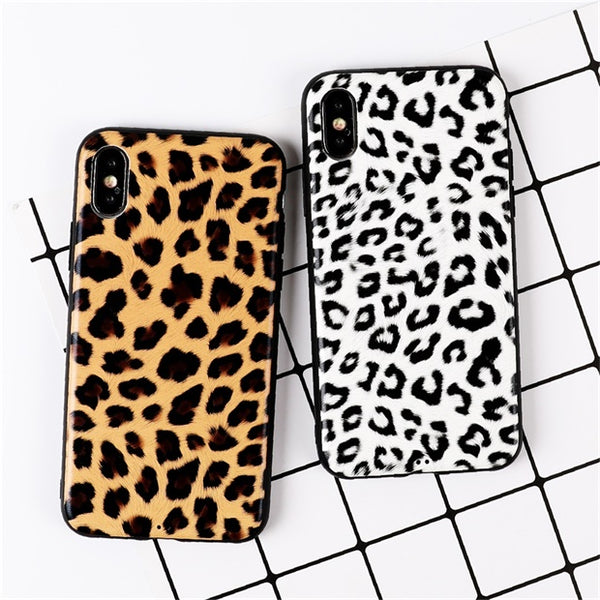 1030-Fashion Vintage Leopard Print Soft TPU Cases For iPhone